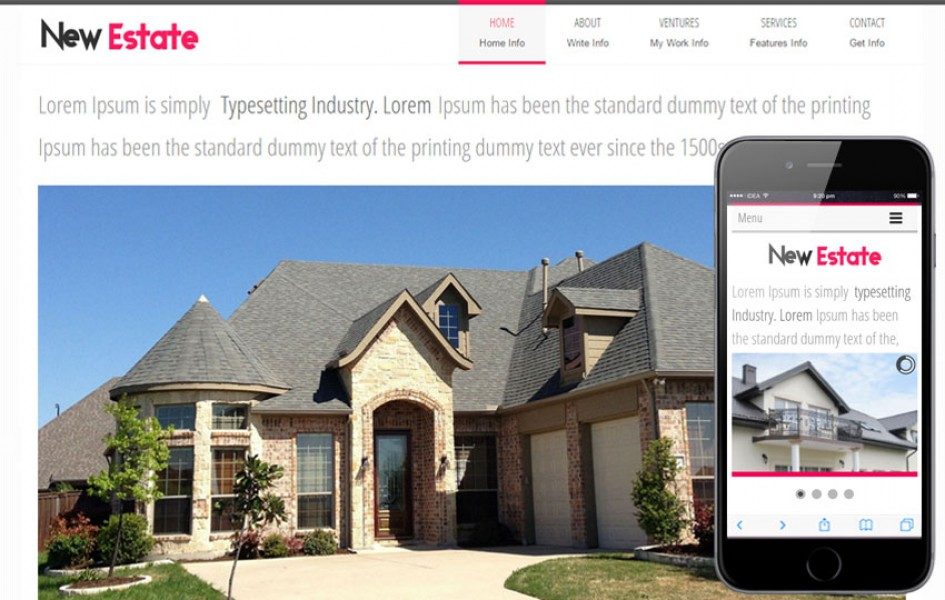 New Estate a Real Estate Mobile Website Template