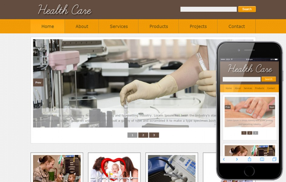 New Health Care Web and Mobile Template for Hospitals