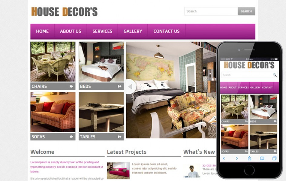 New House Decors Interior Web and Mobile Template for Free