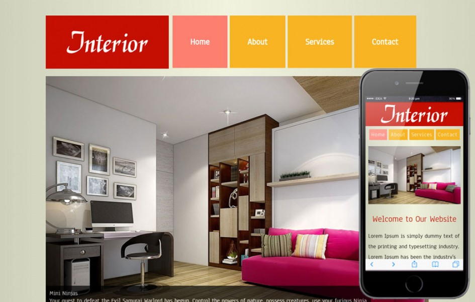 New Interior web template and mobile template for free