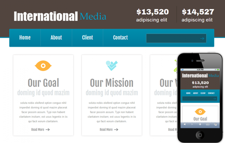 New International Media Web and Mobile Template for Free