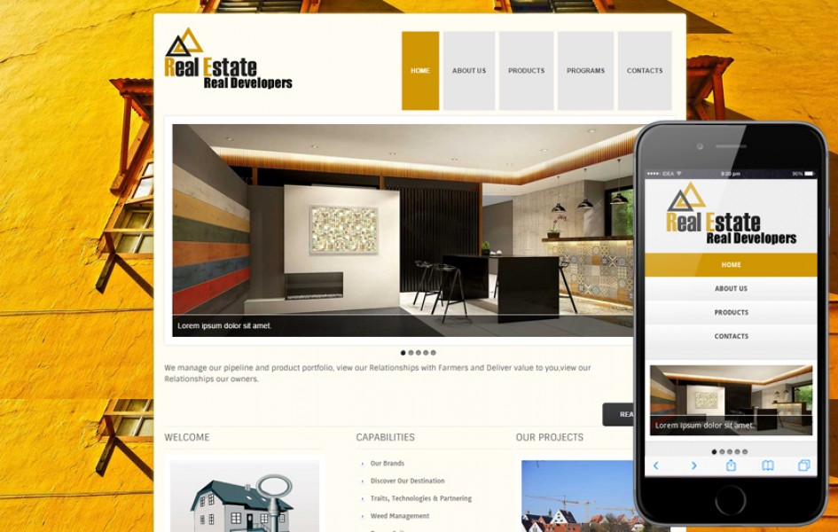 New Real Estate Web Template and Mobile Template for Free