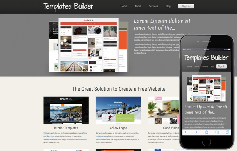 New Template Builder Web and Mobile Template for Free