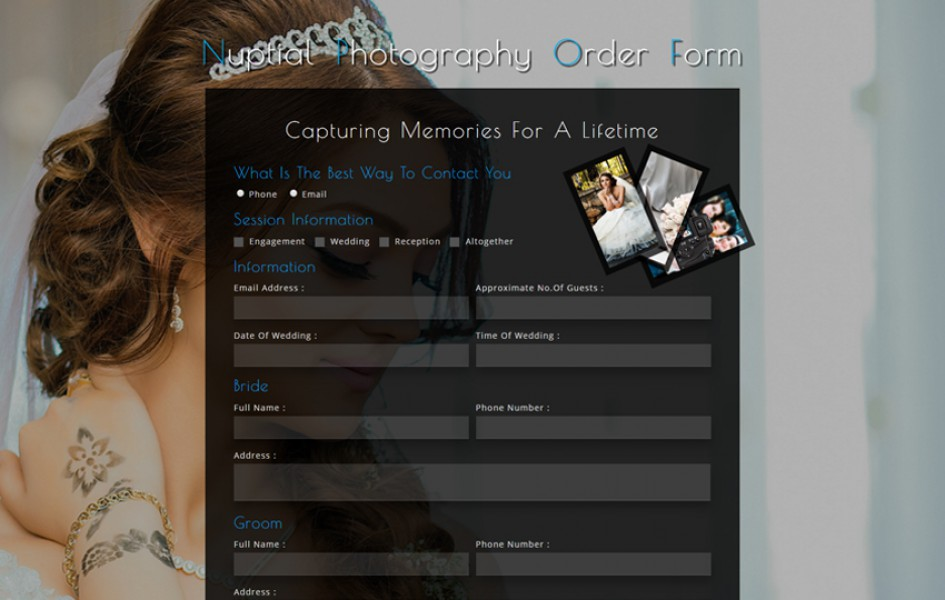 Nuptial Photography Order Form a Responsive Widget Template