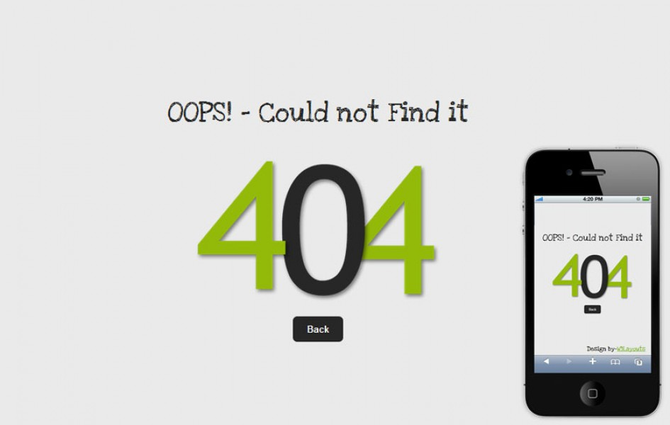 Oops 404 Page Not Found Mobile Website Template