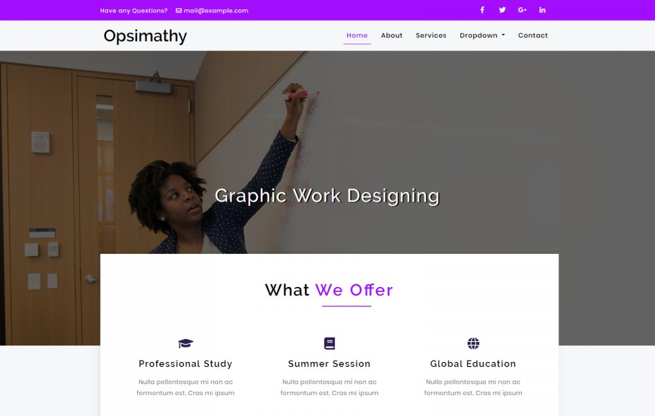 Opsimathy Education Category Bootstrap Responsive Web Template