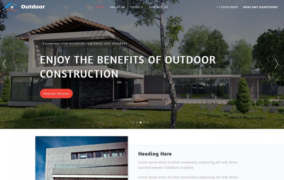 Outdoor Exterior Category Bootstrap Responsive Web Template
