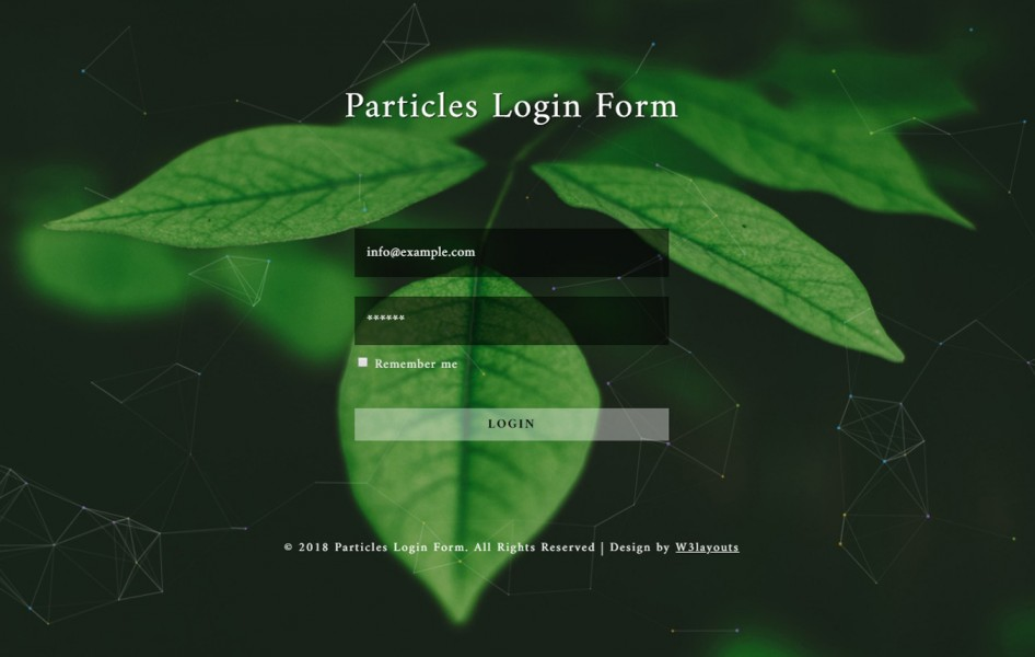 Particles Login Form Flat Responsive Widget Template