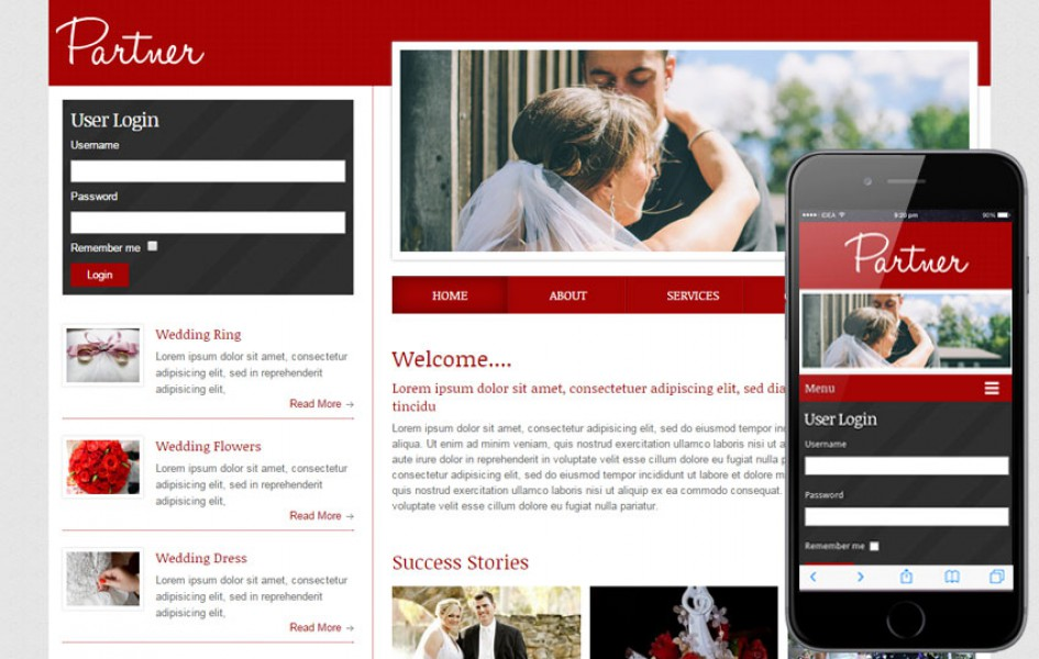 Partner a Wedding Planner Mobile Website Template