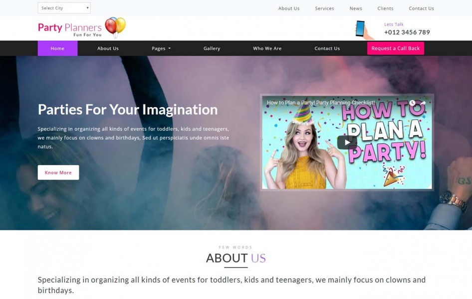 Party Planners Entertainment Category Bootstrap Responsive Web Template