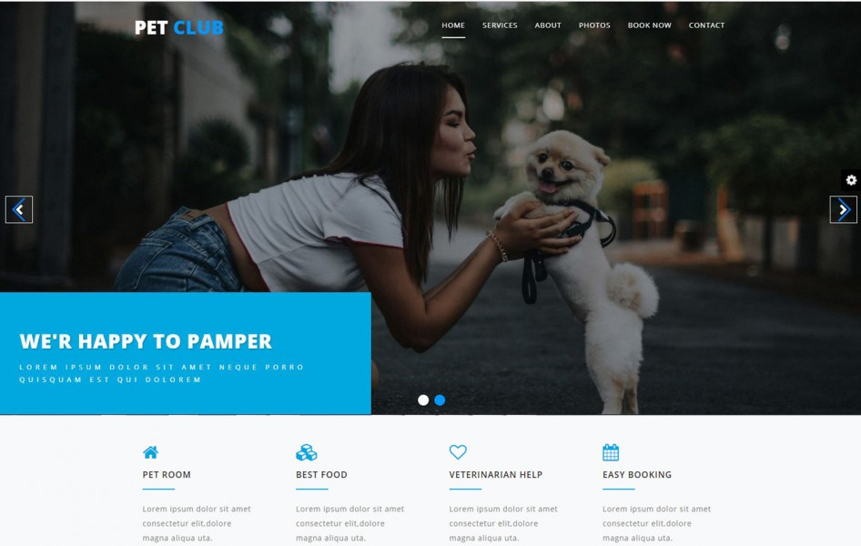 Pet Club Animals Category Bootstrap Responsive Web Template