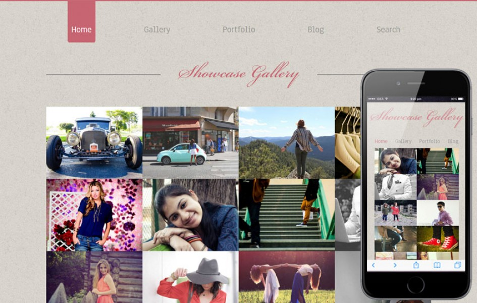 Photo showcase gallery web and mobile template for free