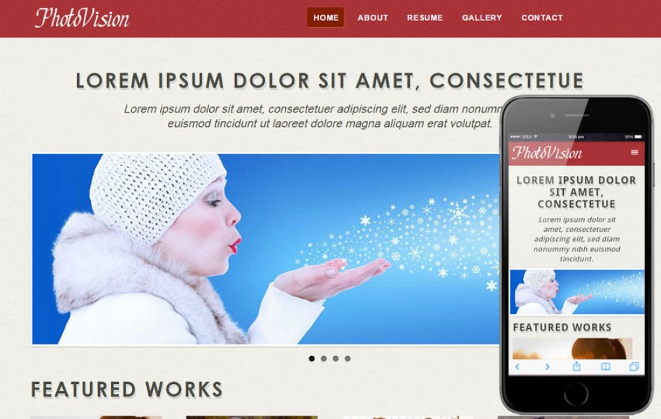 Photo Vision Web and Mobile Template for Free