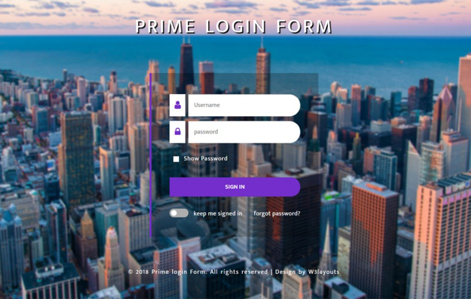 Prime Login Form Flat Responsive Widget Template