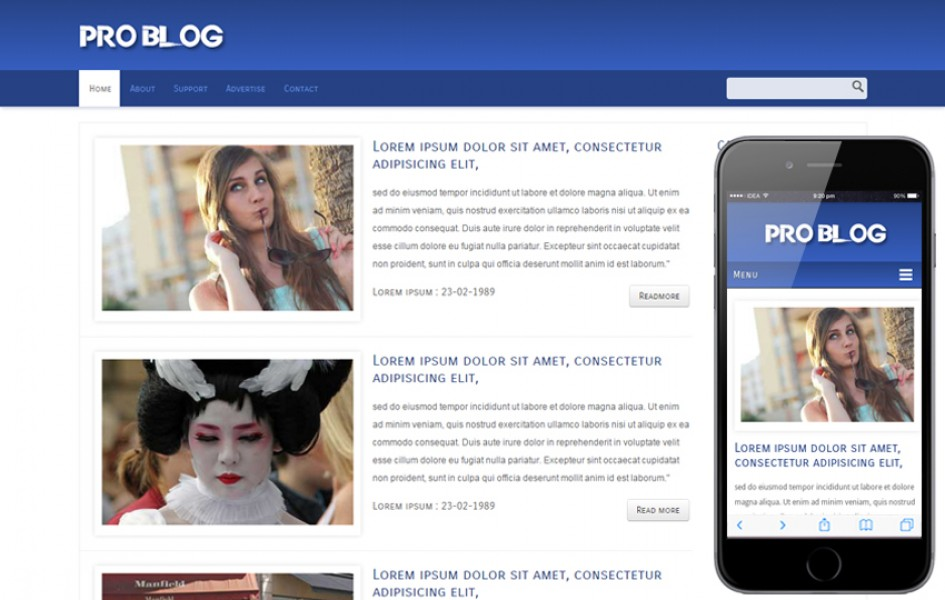 Pro Blog Web and Mobile Template for Free