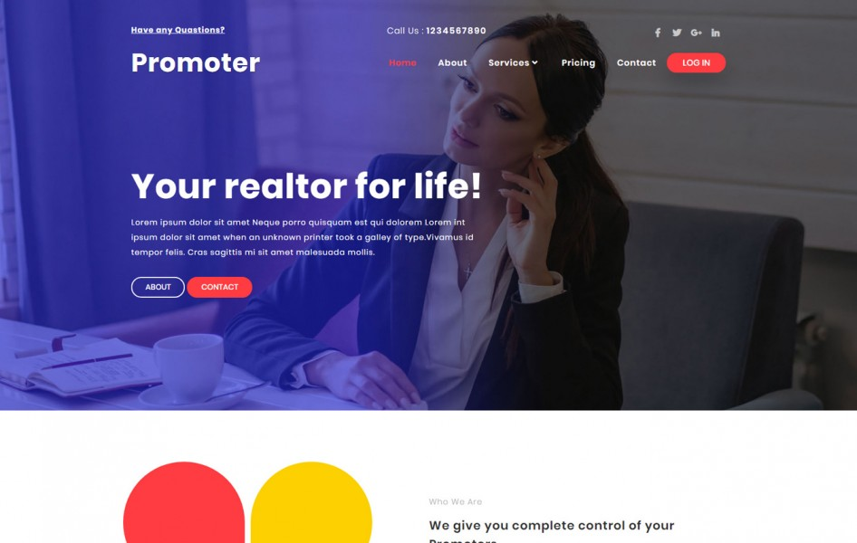 Promoter Real Estate Category Bootstrap Responsive Web Template