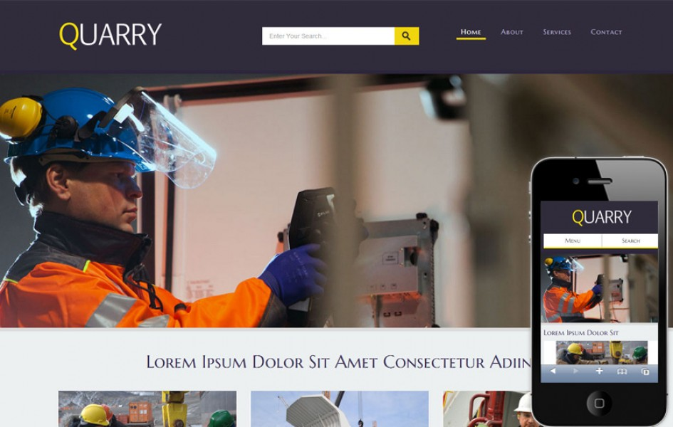 Quarry a Industrial Mobile Website Template