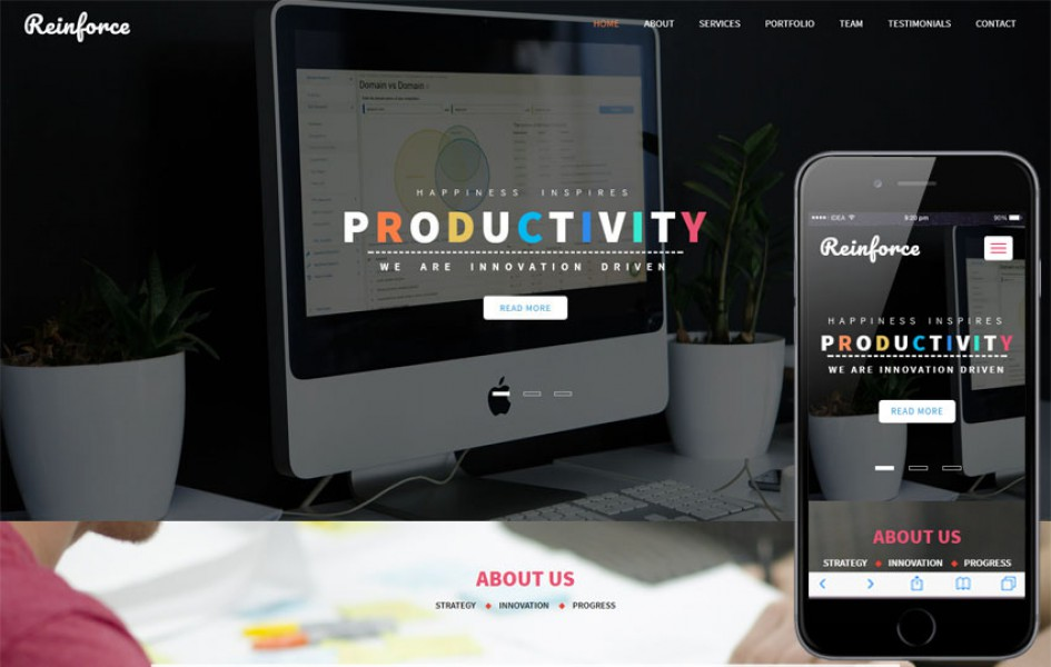 Reinforce a Corporate Category Bootstrap Responsive Web Template