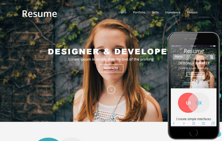 Resumer a Single Page Flat Responsive Web Template