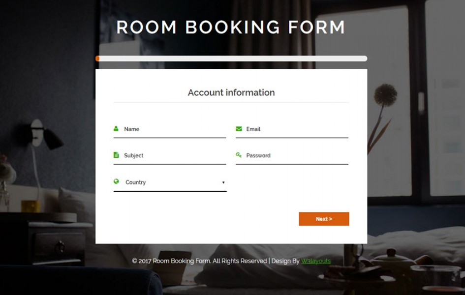 Room Booking Form Flat Responsive Widget Template