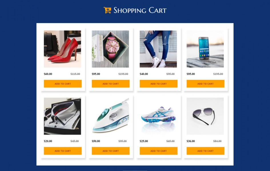 Shopping Cart a Flat Responsive Widget Template