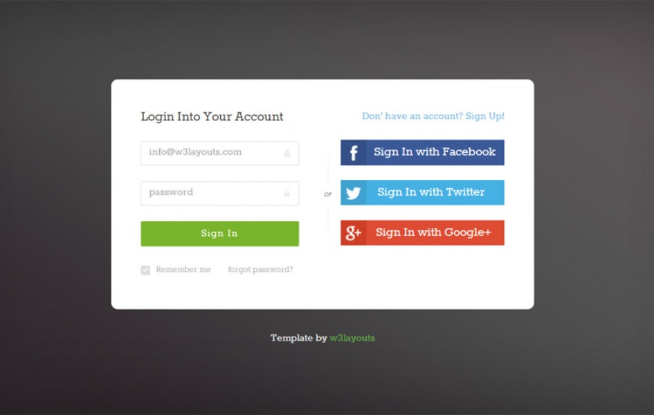 Social Media Login Page Web Template