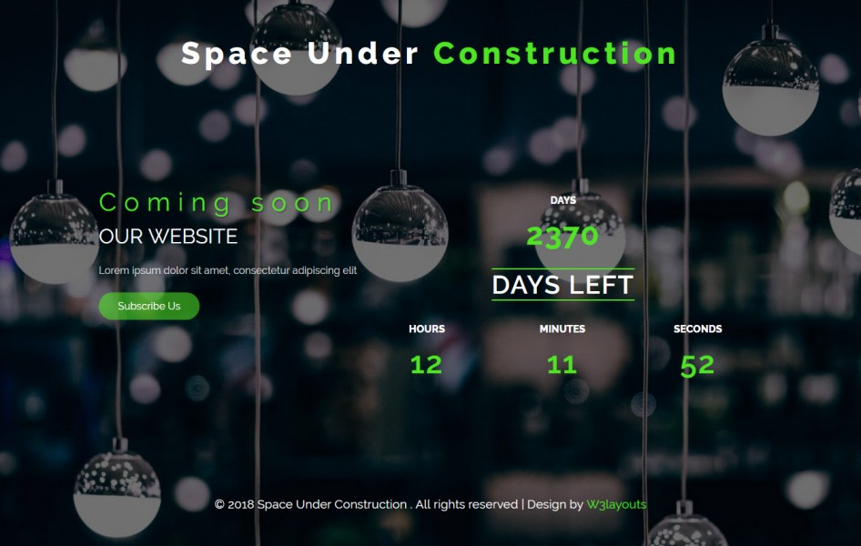 Space Under Construction Flat Responsive Widget Template