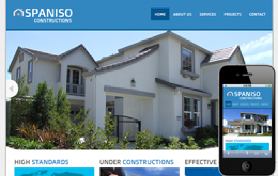 Spaniso Constructions Web and Mobile Template for Free
