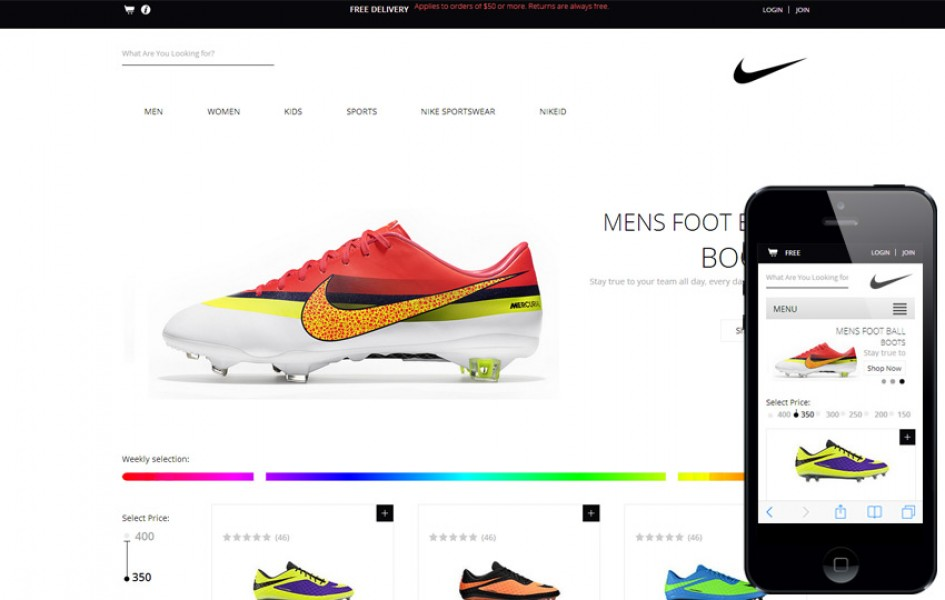 Spike Shoes a Flat E-commerce Responsive Web Template