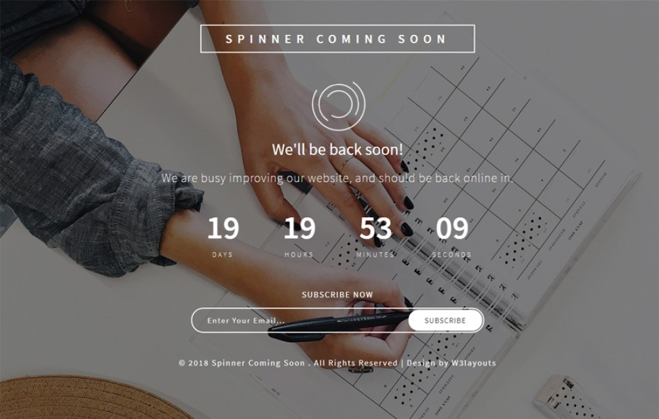 Spinner Coming Soon Flat Responsive Widget Template