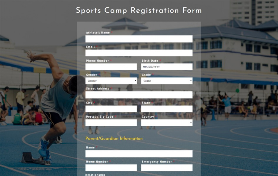 Sports Camp Registration Form Responsive Widget Template