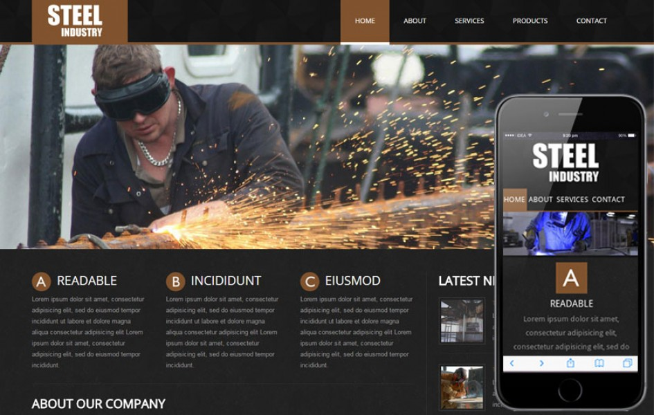 Steel - an Industrial Mobile Website Template