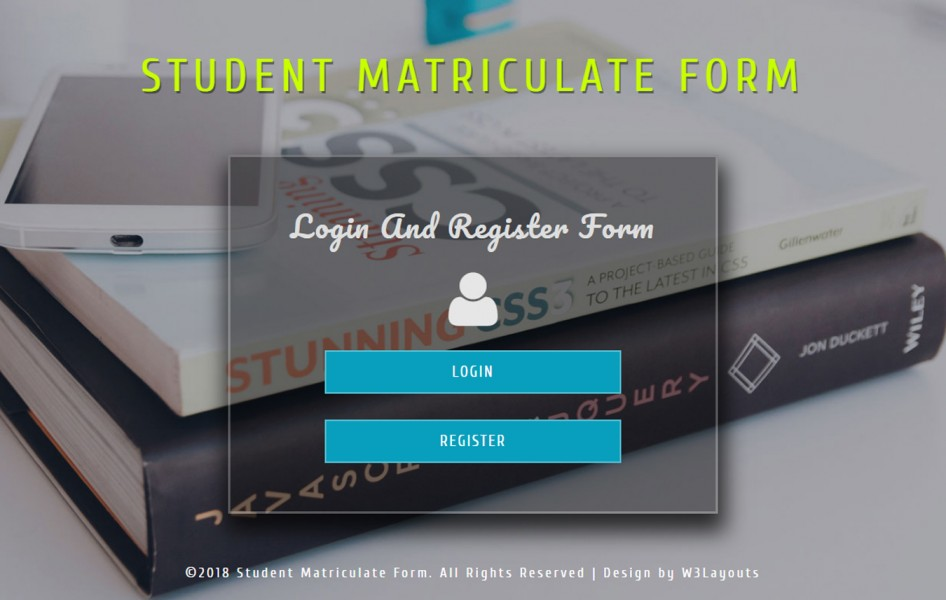 Student Matriculate Form Flat Responsive Widget Template