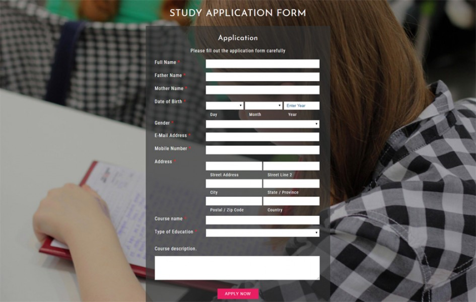 Study Application Form Responsive Widget Template