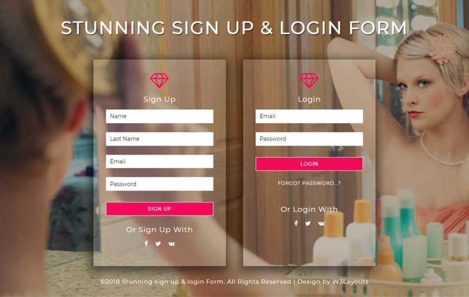 Stunning Signup and Login Form Flat Responsive Widget Template