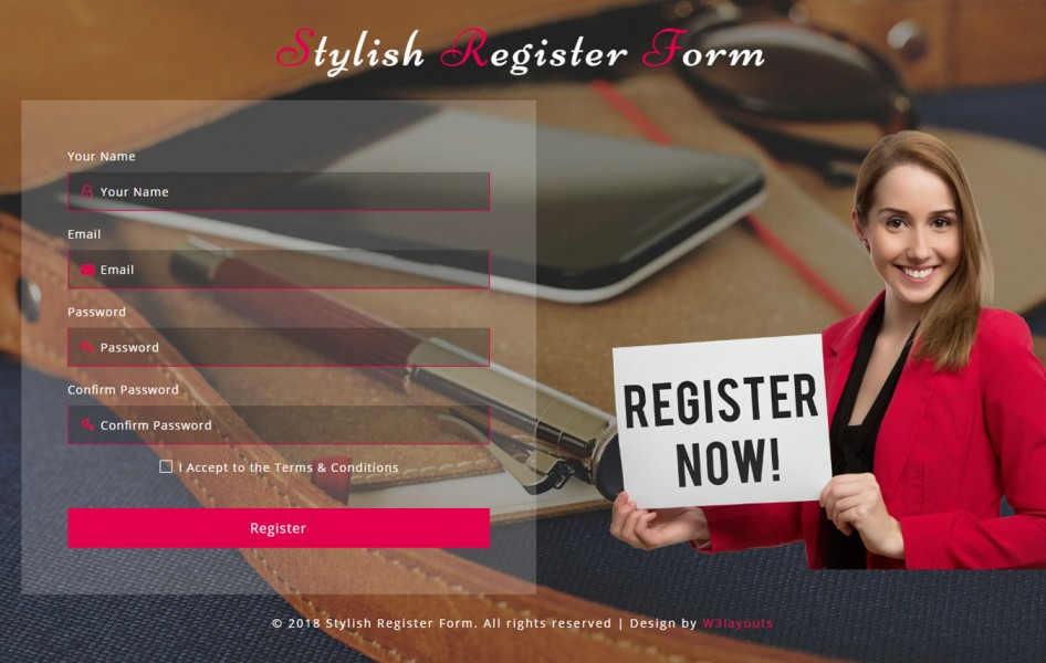 Stylish Register Form Responsive Widget Template