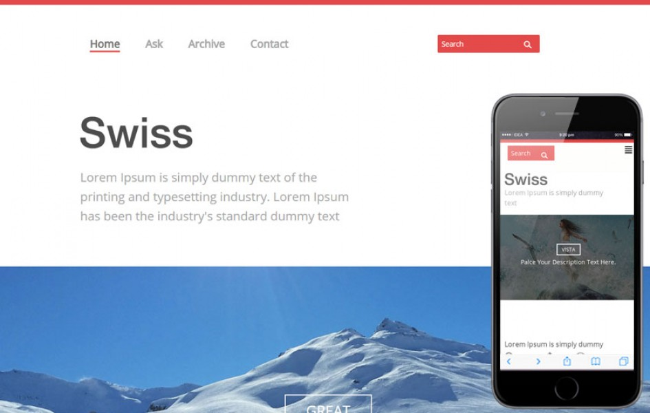 Swiss Single Page Blogging Responsive Web Template