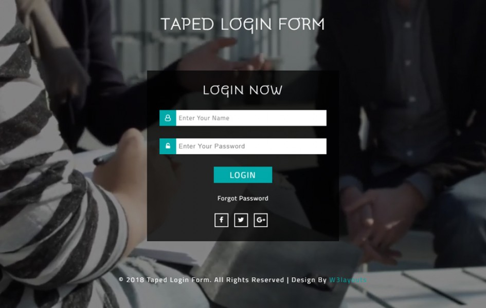 Taped Login Form Responsive Widget Template