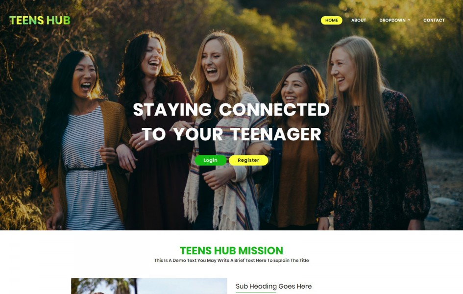 Teens Hub a People Category Bootstrap Web Template