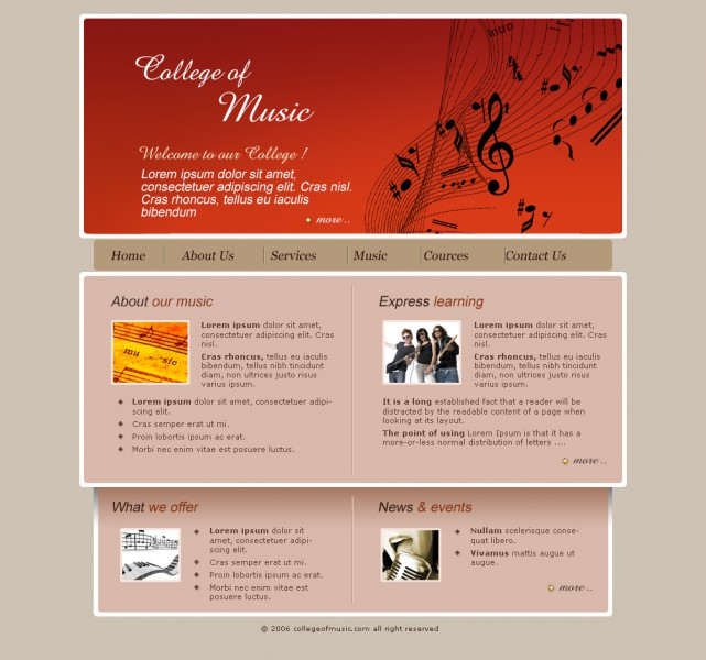 College Music Templates
