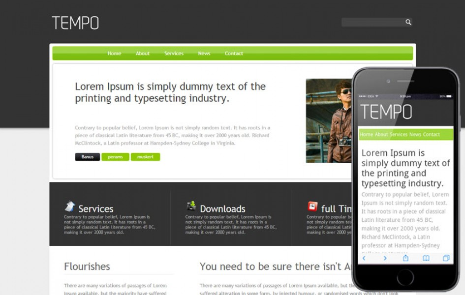 Tempo Free Corporate Website and Mobile Template
