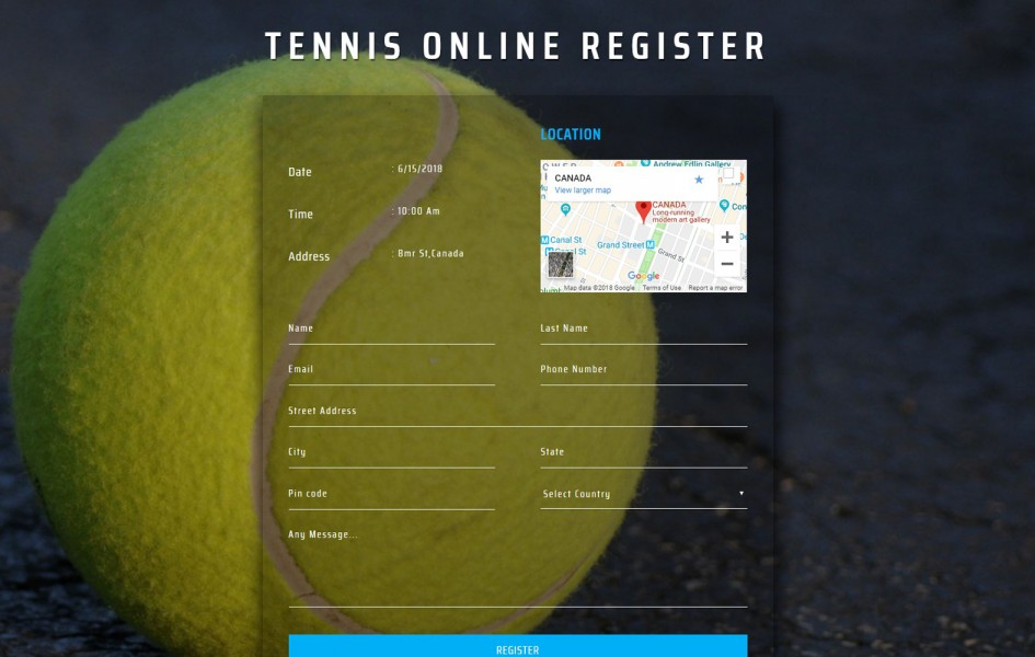 Tennis Online Register Form Flat Responsive Widget Template