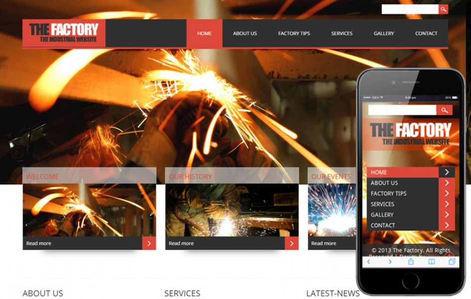 The Factory - Industrial Mobile Website Template