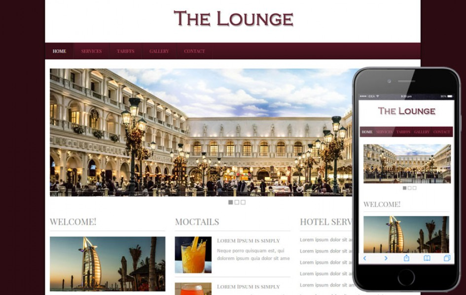 The Lounge Hotel web and Mobile template for free