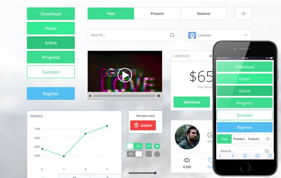 Thin Bright UI KIT Flat Responsive mobile Web Template