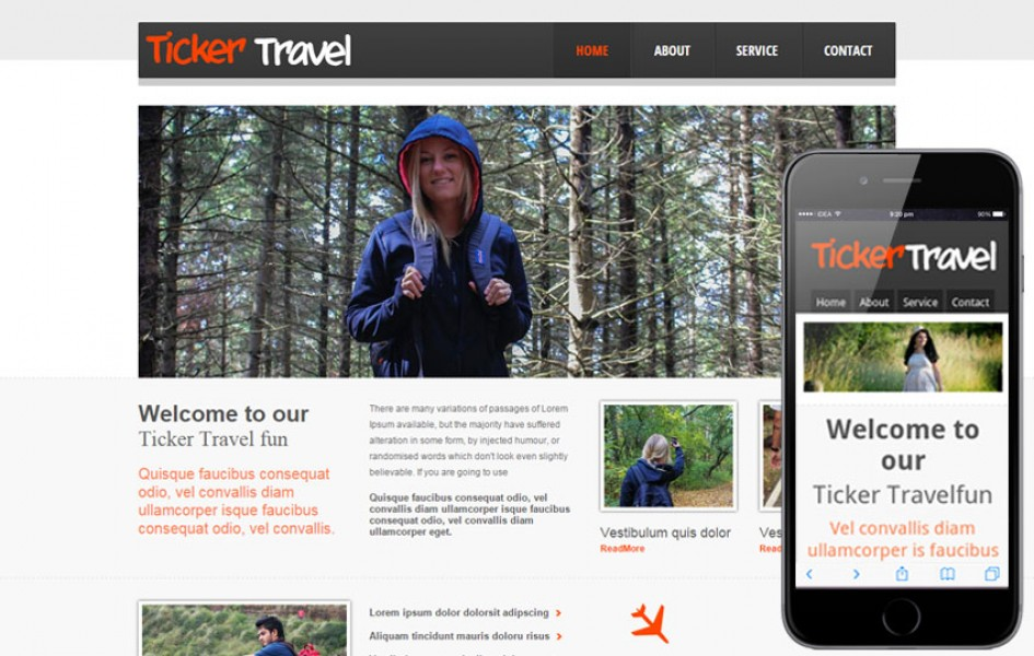 Ticker Travel Web and Mobile Template for Free