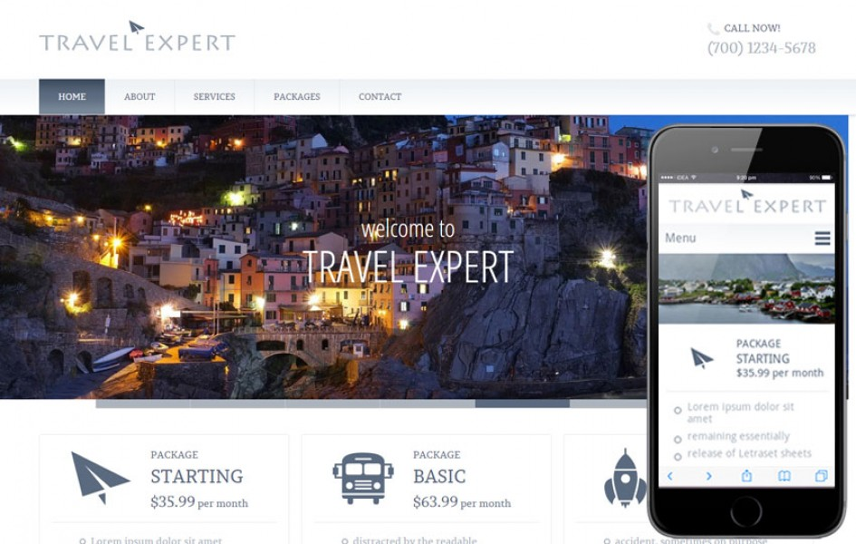 Travel Expert a travel guide Mobile Website Template