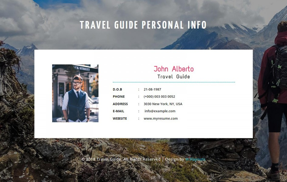 Travel Guide a Personal Info Responsive Widget Template