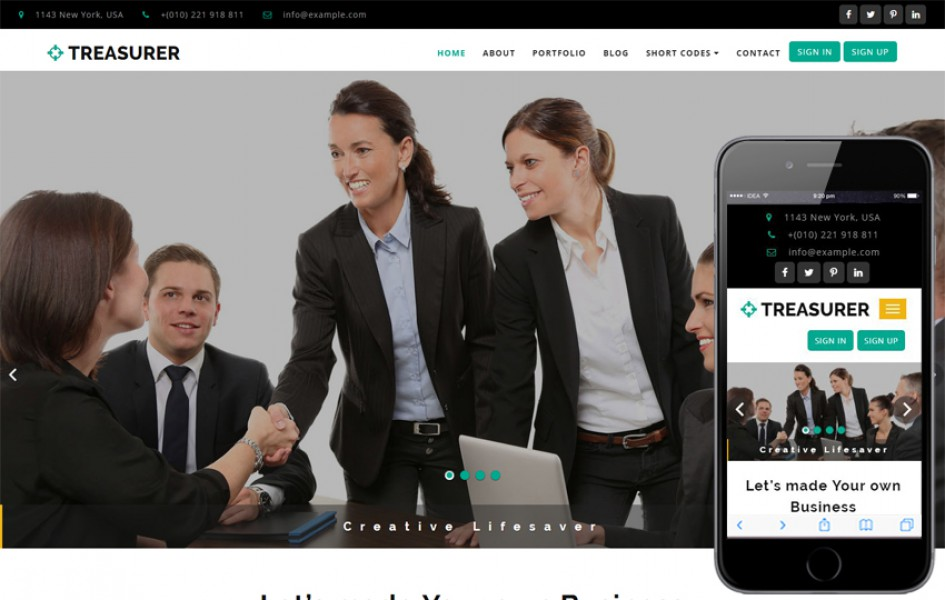 Treasurer a Corporate Category Bootstrap Responsive Web Template