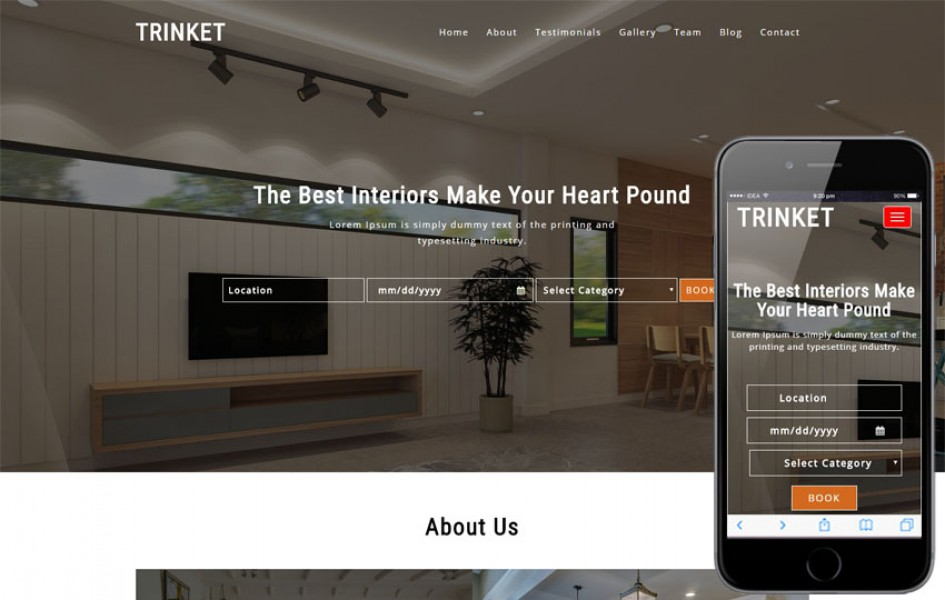 Trinket Interior Category Bootstrap Responsive Web Template